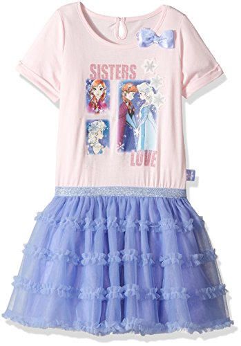 Disney Toddler Girls' Frozen Anna and Elsa Tulle Dress, Blue, 4T