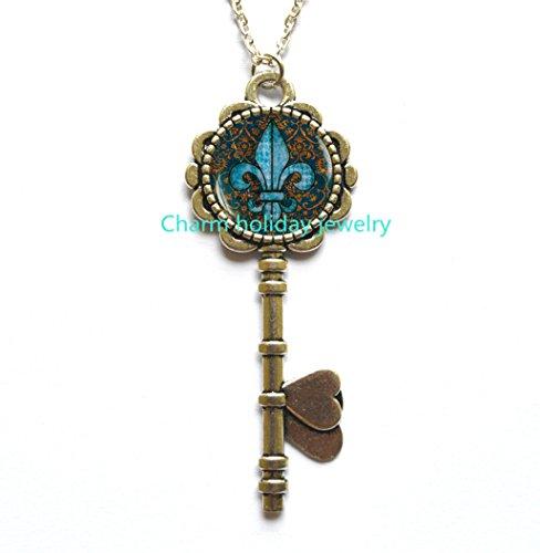 (Fleur de lis Key Pendant, fleur de lis Key Necklace , fleur de lis jewelry, heraldry jewelry royal heraldic sign,Q0068)