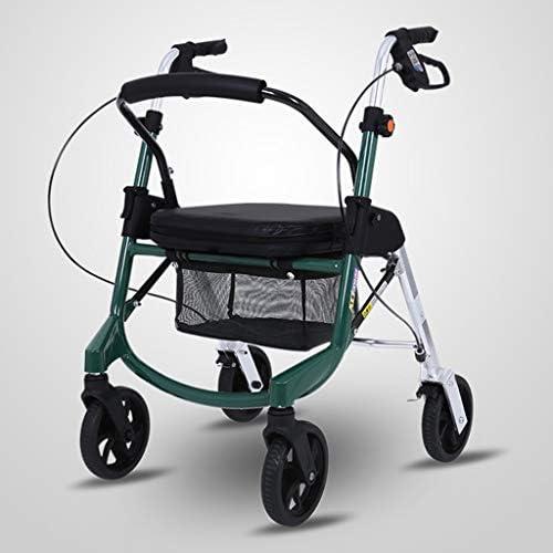 カート・ワゴン 野菜カートを購入するための高齢者のための座席付きショッピングカートアルミニウム合金高さ調節可能なプーリー折りたたみポータブルウォーキングエイド (Color : Green)
