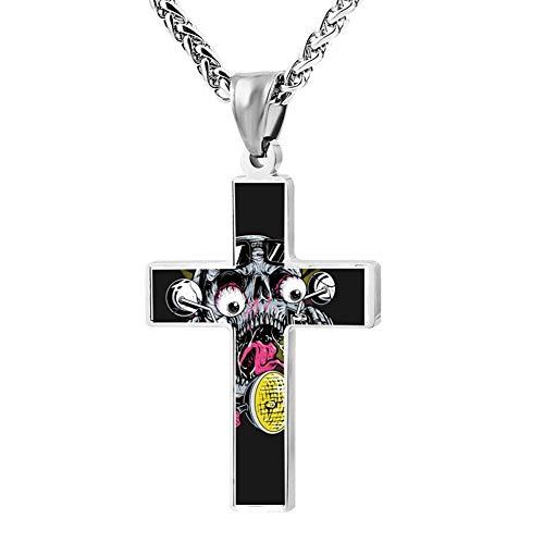 EveLHJLe4 Skull Biker Couple Zinc Alloy Chain Cross Necklace Zinc Alloy Pendant Jesus Prayer Christian 24 Inch