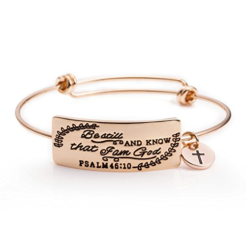 (Bible Verse Bracelets Jewelry Gift for Christian Women Engraved Encourage Inspirational Quote Be Still and Know That I Am God )