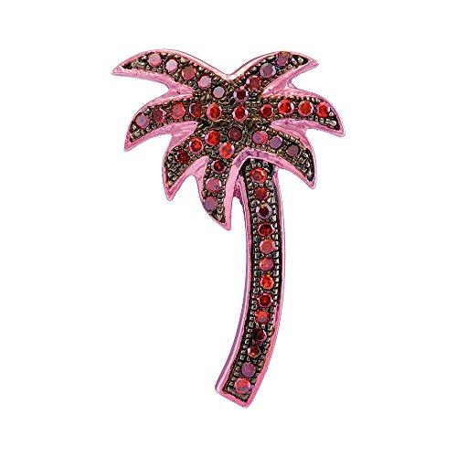 Rose Gold Womens Round Red Color Enhanced Diamond Palm Tree Beach Pendant 1/4-Carat tw ()