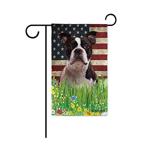 BAGEYOU Cute Puppy Boston Terrier Garden Flag Lovely Pet Dog American US Flag Wildflowers Floral Grass Spring Summer Decorative Patriotic Banner for Outside 12.5x18 inch Printed Double Sided