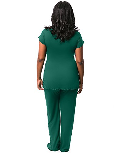 Kindred Bravely Davy Ultra Soft Maternity & Nursing Pajamas Sleepwear Set (Evergreen, Small) by Kindred Bravely (Image #4)