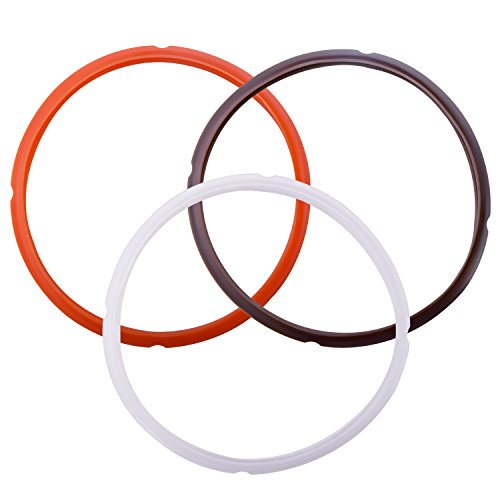 - Silicone Sealing Ring for Instant Pot Accessories - Fits 5 or 6 Quart Models, Orange, Brown and Common Transparent White, Sweet and Savory Edition Pack of 3