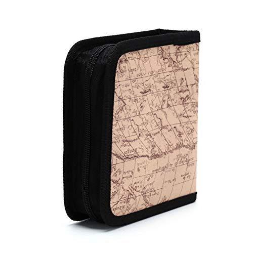 MOPOLIS 40 Disc Map texture CD Holder DVD Case Storage Wallet fashion Leather Bag JG   Color - Yellow