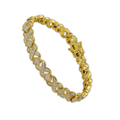 - SHKA 18k Gold Plated XOXO Tennis Bracelet with Diamond Accent Links for Men and Women