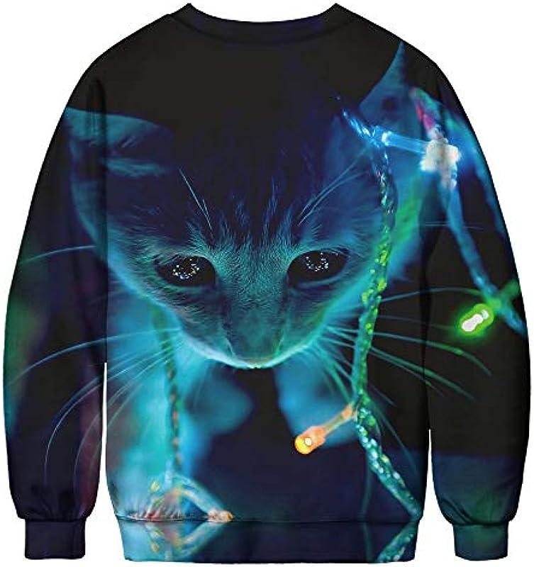 Męskie długie rękawy wycięcie w kształcie O bez kapturu nadruk cyfrowy 3D kot wzÓr sweter Xmas bluza: Odzież
