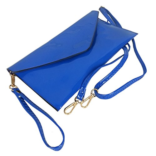 Bag New Faux Purse Evening Leather Patent Wedding Black Style Clutch Envelope Blue Ladies SSrqwB8