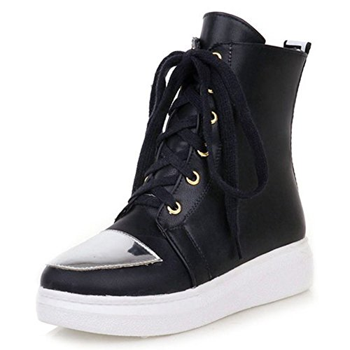 Summerwhisper Womens Confortable Bout Rond Haut Top Skate Chaussures Plateforme Lace Up Sneakers Bottes Noir
