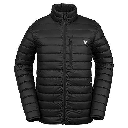 Volcom Men's Puff Give Bubble Goose Nylon Full Down Snow Jacket, Black, Large