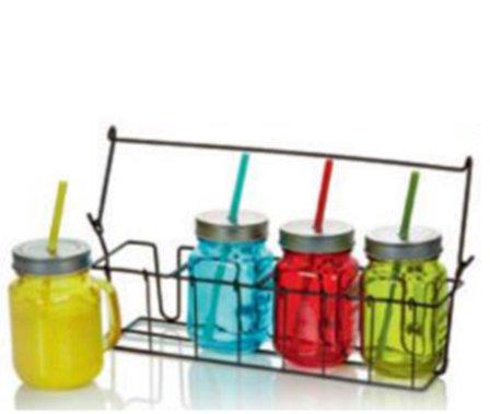 Set colorato di 4 vasetti HDIUK drink Mason barattoli in vetro con ...