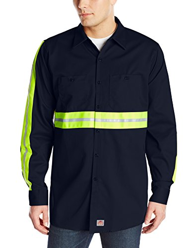 - Red Kap Men's Enhanced Visibility Cotton Work Shirt , Navy with Yellow/Green Visibility Trim,  Large