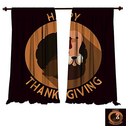 DragonBuildingMaterials Blackout Curtain Panels Long Shadow Flat Thanksgiving Turkey Stamp Insulating Room Darkening - Xtra Large Flat Panel