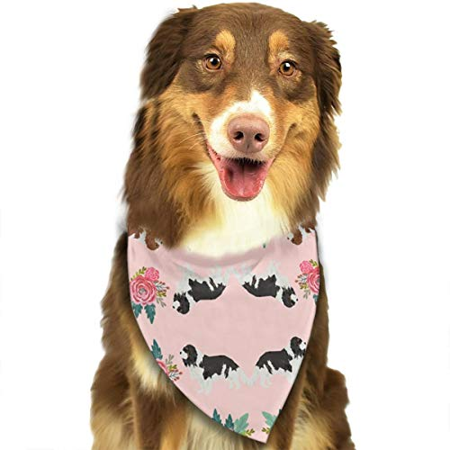 Cavalier King Charles Spaniel Pink Florals Floral Dog Dog Bandana Collars Triangle Neckerchief Puppy Bibs Scarfs Pet Scarfs Cats and Baby Scarf Towel