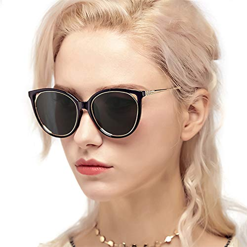 Myiaur Fashion Cat Eye Sunglasses Women, Polarized Mirror Glasses, Stylish Style Design, for UV Protection/Driving/Outdoor (Black Cateye Frame Grey Polarized Glasses)