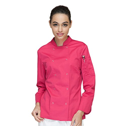 Cheflife colored chef uniforms long sleeve coat for women rose, Medium by Cheflife