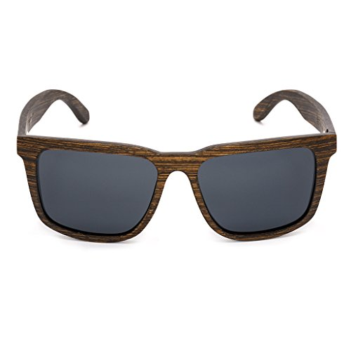 Tree Tribe Woodsman Sunglasses, Polarized Lens - Real Wood Frames + Bamboo Case - Brown Frame with Black - Wooden Sunglasses Sale For