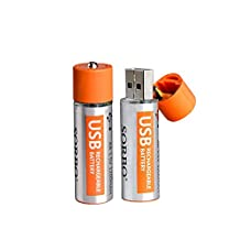 Glodeals USB Rechargeable AA Batteries on the 5th Battery Fast Charge Section 2 loaded 1.5v Lithium Polymer 1200 mA on the 5th Set