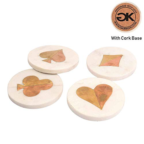 (GAURI KOHLI Beautiful Marble Copper Brass Coasters with Poker Theme; Hearts | Spades | Clubs | Diamonds (Large Size | Set of 4))