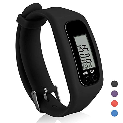 Coch Fitness Tracker Watch, Simply Operation Walking Running Pedometer with Calorie Burning and Steps Counting (Black)