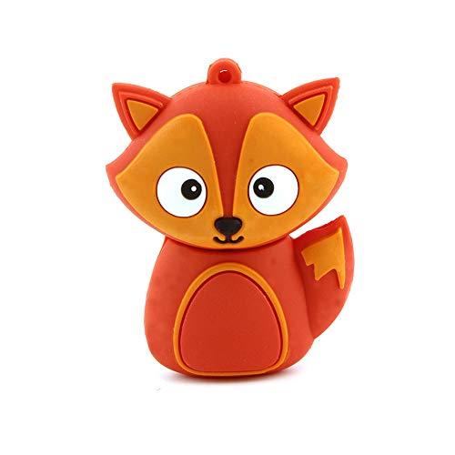 CHUYI Novelty Fox Shape Design 32GB USB 2.0 Flash Drive Cute Memory Stick Thumb Drive Data Storage Pendrive Cartoon Jump Drive U Disk Gift