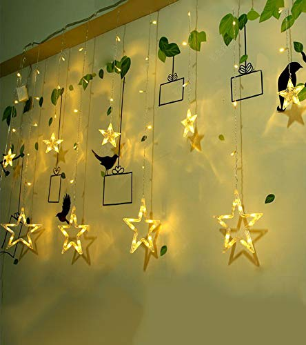 Bolansi Curtain String Lights, 12 Star 138 LED Window Lights Waterproof 12 Strings with 8 Flashing Modes RF Remote Decoration for Christmas Wedding Party Home Patio Lawn 8.2ft x 3.2ft