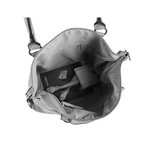 OBC DAMEN MILITARY TASCHE Shopper Camouflage Patches Handtasche Canvas Schultertasche Umhängetasche Army Damentasche Sticker Reisetasche Beuteltasche DIN-A4 Khaki Grau ft4f5w3skD