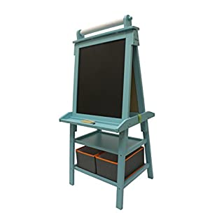 Little Partners 2-Sided A-Frame Art Easel with Chalk Board, Magnetic Dry Erase, Storage, Paper Feed and Accessories for Toddlers, Teal Frosting