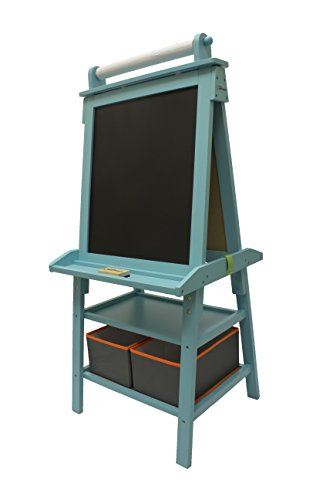Little Partners 2-Sided A-Frame Art Easel with Chalk Board, Magnetic Dry Erase, Storage, Paper Feed and Accessories for Toddlers, Teal Frosting]()