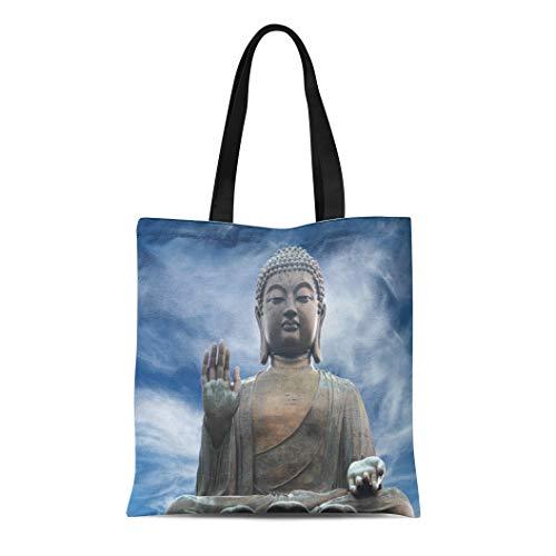 Semtomn Canvas Tote Bag Shoulder Bags Blue Statue the Tian Tan Buddha in Hong Kong Women's Handle Shoulder Tote Shopper Handbag