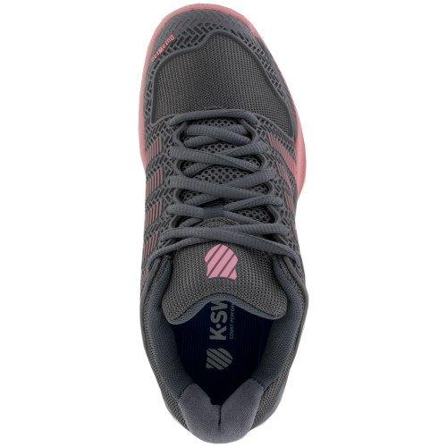 K-Swiss Frauen Hypercourt Express Tennisschuh Stahlgrau / Calypso Coral / Flamingo Pink