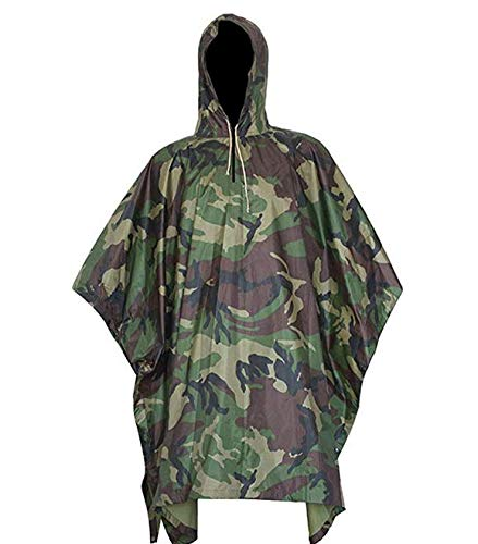 SEAL3 Rain Poncho-Waterproof-Hooded-Heavy Duty PVC Raincoat-Gear. Outdoor Multi-Use-Hunting,Backpack,Survival, Emergency,Military or Stadium. Adult Men-Women-Kids-Camo-Black-Many Colors. (Jungle Camo) ()