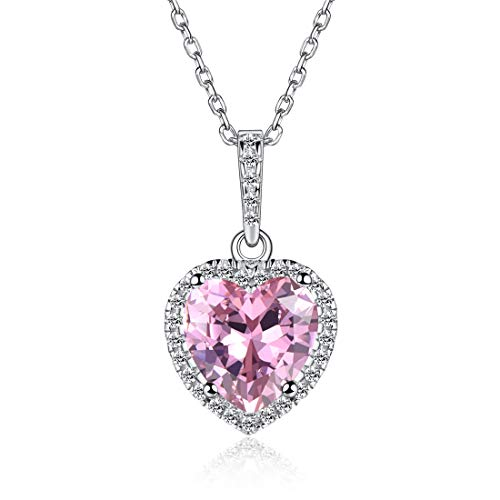 Heart Necklace Love Tourmaline October Birthstone Necklace Sterling Silver Gemstone Pendant Jewelry Gifts for Women - Heart Necklace Pink
