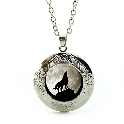 Women's Custom Locket Closure Pendant Necklace Moon Wolf Included Free Silver Chain, Best Gift Set