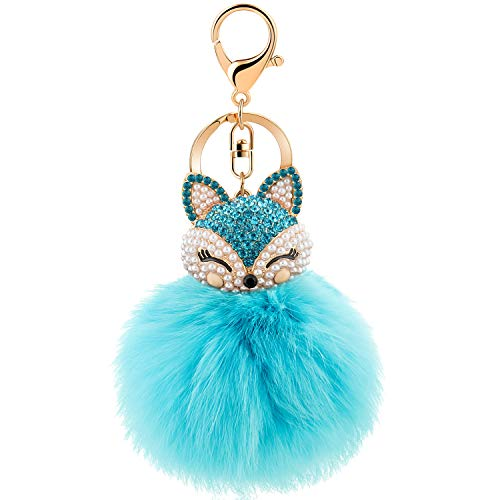 (JOUDOO Rabbit Ball Keychain with Rhinestone Fox Head Keyring GJ-001 (Blue))