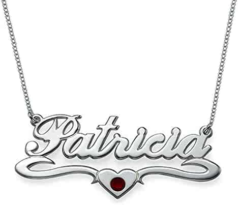 5a5cbc03c 925 Sterling Silver Personalized Name Necklace with Heart - 18K Custom  Necklace Pendants with Any Name