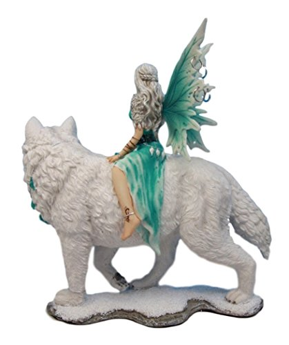 Atlantic Collectibles Elektra Blue Ice Fairy Riding Giant Snow Wolf King Rumba Figurine 8 H