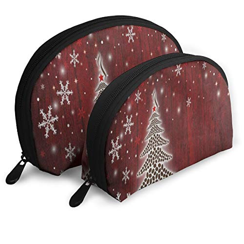 Makeup Bag Christmas Tree Snowflake Wooden Portable Shell Clutch Pouch For Women Party Pack - -