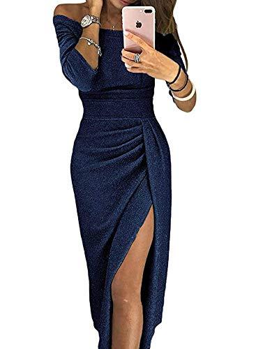 ULIAN Women Off Shoulder Long Sleeve Ruched High Metallic Glitter Slit Evening Party Dress (Navy Blue,XXL) (Blue Navy Cocktail)