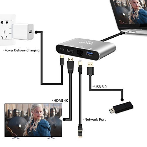USB C To HDMI Adapter, LC-dolida Type C to HDMI 4K Hub with Gigabit Ethernet, Power Delivery Charging Port and USB 3.0 Port for New MacBook Pro 2016/2017, Samsung Galaxy S8/S8 Plus/Note 8, No Driver by LC-dolida (Image #1)