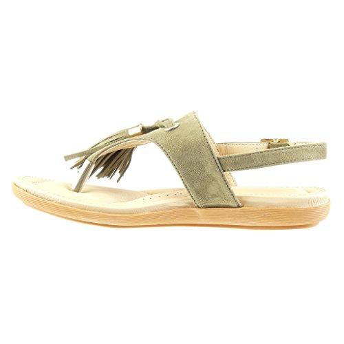 Angkorly Damen Schuhe Sandalen - T-Spange - Fransen - Bommel Flache Ferse 2 cm Grüne
