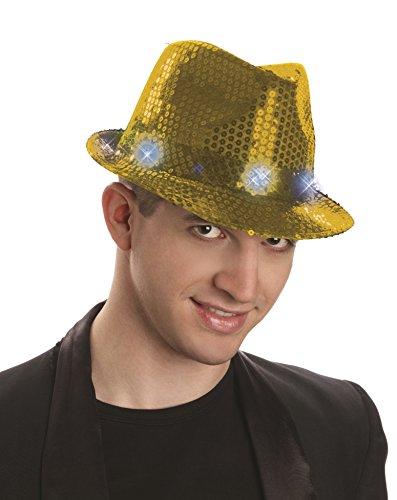 Forum Novelties Sequin Fedora Hat with Lights, Gold