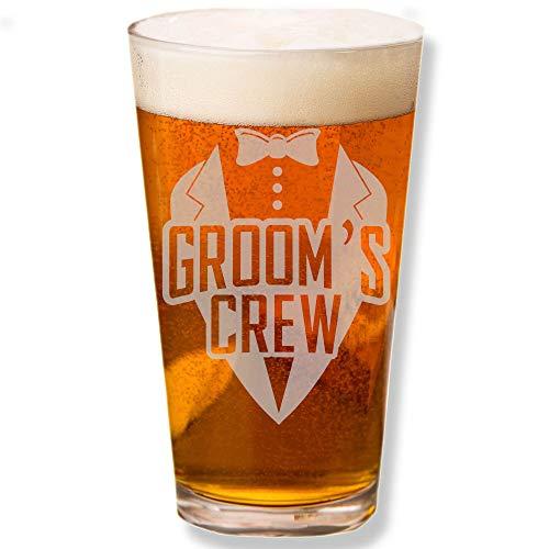 - Shop4Ever Groom's Crew Tuxedo Laser Engraved Beer Pint Glass ~ Wedding Gift ~ (Crew Tux)