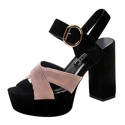 Mysky Fashion Women Casual Cross Belt Fish Mouth Sandals Ladies Simple Color Block Buckle High Heel Shoes Pink
