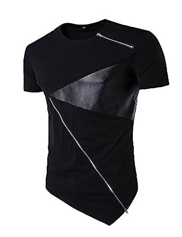 Modfine Men's Fashion Hip hop Tees Short Sleeve Zipper Irregular Summer T-Shirt Top(Black,Large) - Short Sleeve Zipper