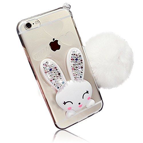 Sunroyal iPhone 4 4s Soft Slim Transparent TPU 3D Cute Cartoon Rabbit (Bunny) [Bling Diamond Stand Ear] Silicone Crystal Clear Scratch Resistant Clear Case with Hairball Pompon Hand Strap - White