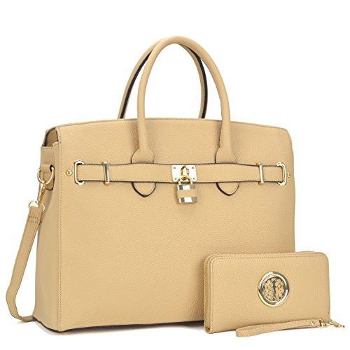 Women Large Handbag Designer Purse 2 Pieces Set Leather Satchel Top Handle Shoulder Bag Tan by MKY