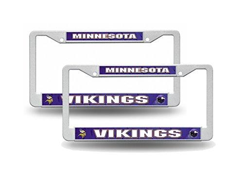 Rico Minnesota Vikings NFL White Plastic (2) Auto License Plate Frame Set ()