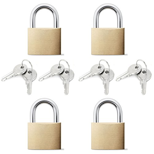 Arology 2 Sets of 2 Pack Brass Padlock (Total 4 Padlocks) 25MM with 2 Keys Each Lock, Safety and Secure Luggage, Carry On, Suitcase, Bags, Gate, Door, Toolbox